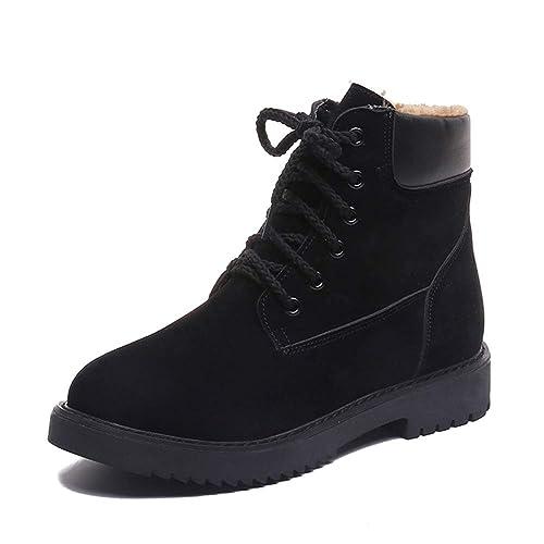 DAZISEN Botas Militares Mujer Invierno Forro - Lace Up Botines Tacon Deportes Trekking Zapatos Botas Chukka