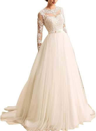 KevinsBridal Women's A-Line Long Sleeves Lace Bridal Gowns 2 Light Champagne
