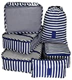 Packing Cubes 6pcs my FL Backpack Organizers Set for Carry on Travel Bag Luggage Cube (Blue Stripe)