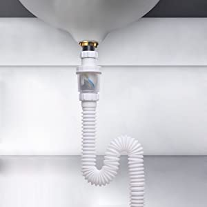 Vataler 1-1/4 Inch Expandable Flexible 17-42 Inch Universal Kitchen Sink Sewer Drain Pipe Tube S Trap, Bathroom Vaniy Sink Drain Plumbing P Trap Tubing