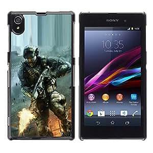 Be Good Phone Accessory // Dura Cáscara cubierta Protectora Caso Carcasa Funda de Protección para Sony Xperia Z1 L39 C6902 C6903 C6906 C6916 C6943 // Soldier Game