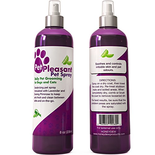 Honeydew Natural Pet Spray for Dogs and Cats with Lavender & Evening Primrose - Eliminates Odor - Use for Daily Grooming Pet Aromatherapy & Odor Control - 8 Oz Bottle - USA Made Products