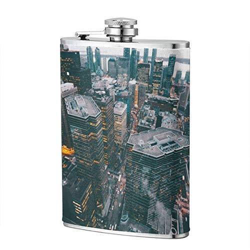 Shot Flask - New York City Food Grade (304) Stainless Steel Flask Leakproof 8 Oz Hip Flask for Storing Whiskey Alcohol Liquor]()