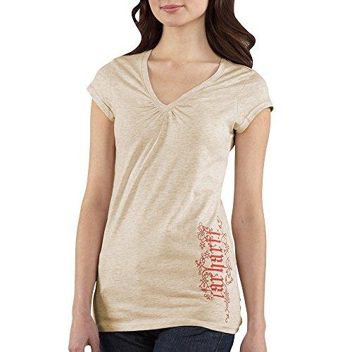 (Carhartt Women's WK085 Women's Cap-Sleeve Old English V-Neck T-Shirt - X-Small Regular - Oatmeal Heather)