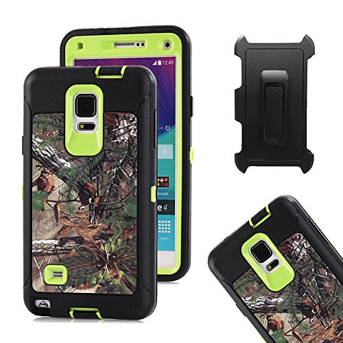 Price comparison product image Galaxy Note 4 Case, Harsel Defender Series Heavy Duty Realtree Camo Tough Rugged Impact Armor Hybrid Military with Belt Clip Built-in Screen Protector Case Cover for Galaxy Note 4 - Forest Green