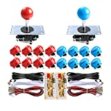 Sanwa 2 Player Orignal Arcade Game DIY Bundle - USB Encoder + 16 x 30mm Push Buttons + 4/8 Way Joystick for Jamma MAME Cabinet & Raspberry Pi RetroPie DIY Projects - Red + Blue Color