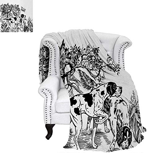 "Digital Printing Blanket Hunting Dogs in The Forest Monochrome Drawing English Pointer and Setter Breeds Summer Quilt Comforter 60""x36"" Black White"