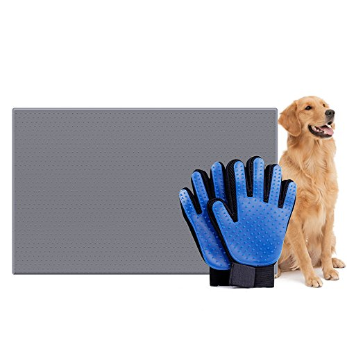 squibomb Pet Grooming Glove And Dog Feeding Silicone Mat - Pet Hair Remover De-Shedding Brush Mitten - Non-stick FDA Waterproof Pet Cat Bowl Food Pad ()