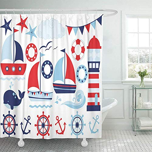 YGUII Shower Curtain Navy Boat Sailing Away Boy Blue Sailor Sail Baby Waterproof Polyester Fabric 72 x 72 Inch(180x180cm Set with Hooks