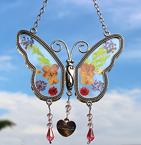 (Grandma Butterfly Suncatchers Stained Glass Suncatchers Wind Chime with Pressed Flower Wings Embedded in Glass with Metal Trim Grandma Heart Charm - Gifts for Grandma -Grandma for birthdays Christmas)