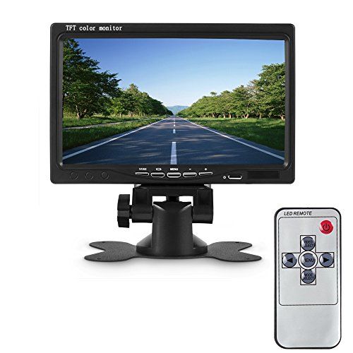 Camecho Universal 7 inch Car Vehicle RearView reversing color Monitor 2 Video Input & High Resolution Rotating TFT LCD Screen with Remote Control and Mounting Bracket