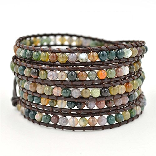 Child Genuine Agate - changgaijewelry Genuine Leather India Agate Bracelet Bangle Cuff Rhinestone Crystal Bead 3 & 5 Wrap Adjustable (5 wrap India Agate)