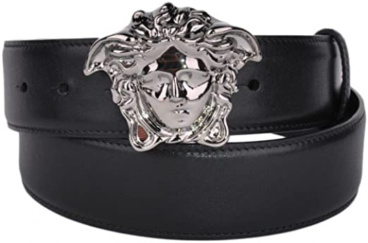 Amazon Com Versace Belt With Silver Medusa Head Buckle