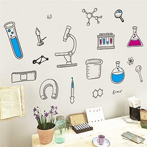 Luowan Cartoon Science Laboratory Wall Stickers For Classroom Study Room Kids Bedroom Home Decoration Diy Nursery Mural Art Decal Amazon Co Uk Kitchen Home