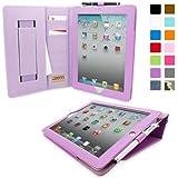 Snugg iPad 2 Case - Executive Smart Cover With Card Slots & Lifetime Guarantee (Purple Leather) for Apple iPad 2