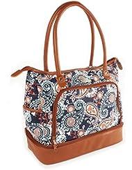 Fit & Fresh Voyager Commuter Bag, Carry On Travel Tote, Zippered Shoulder Bag (Navy Orange Paisley)