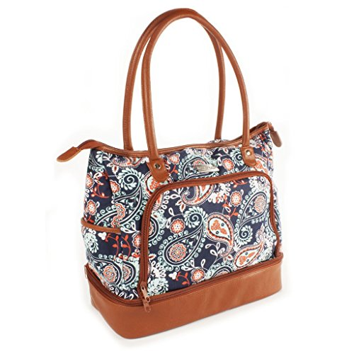 Voyager Carry On - Fit & Fresh Voyager Travel/Commuter Tote Bag with Insulated Section for Lunch, Snacks and Drinks, Carry On, Zippered Shoulder Bag, Navy Orange Paisley