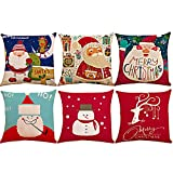 Dansfeng 6PCS Christmas Pillow Covers Christmas Decorative Throw Pillows Cases Sofa Indoor Outdoor Home Decorate