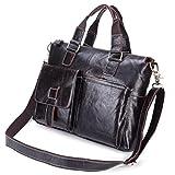 Becoler Buiness Shoulder Bag Leather Men's Handbag Brown Portable Buiness Bag for Buiness Men