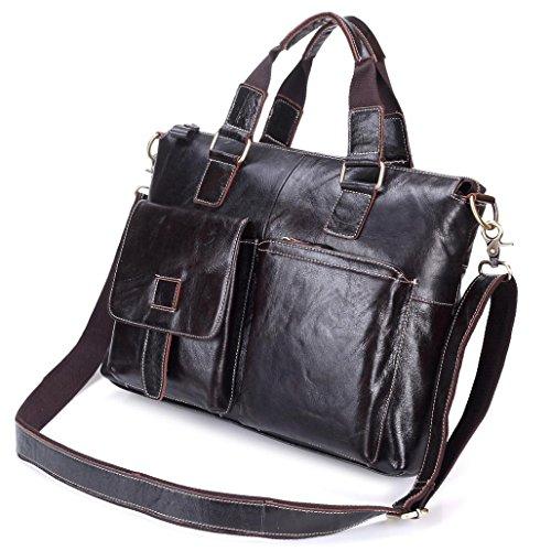 Becoler Buiness Shoulder Bag Leather Men's Handbag Brown Portable Buiness Bag for Buiness Men by Becoler