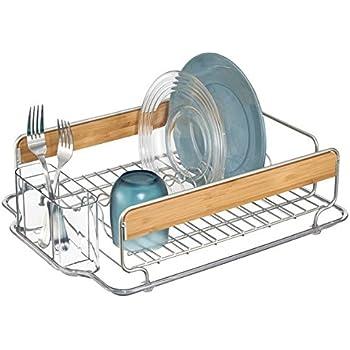 mDesign Kitchen Dish Drainer Rack for Drying Glasses, Silverware, Bowls, Plates - Satin/Natural Bamboo