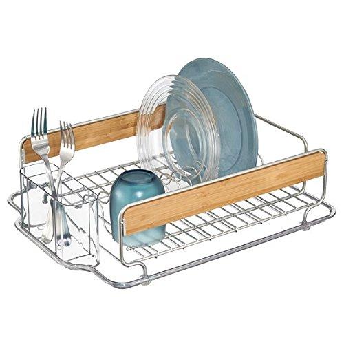 mDesign Kitchen Wire Metal and Wood Dish Drainer Organizer R