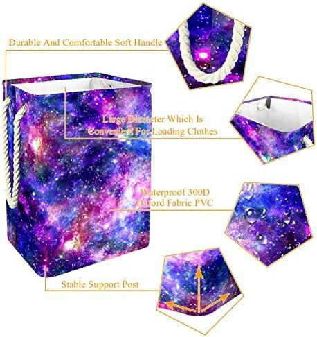 Tizorax Grand panier à linge étanche Galaxy Night Seau en tissu sale pliable avec poignées pour chambre à coucher, salle de bain, dortoir