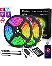 LED Strip Lights,Elfeland Strip Lighting 10m 300LED RGB 5050 2.4GHz WiFi Smart Phone APP IP65 Waterproof Color Change with IR Remote LED Light Strip for Google Home Alexa Garden Party Decoration 2x5m