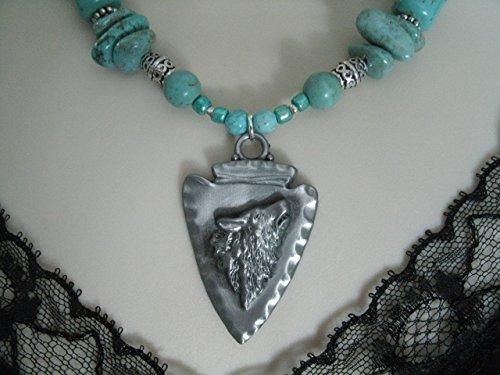 Turquoise Wolf Necklace, handmade jewelry, southwestern, southwest, country western, tribal, ethnic, cowgirl, wedding