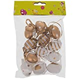 "1.6"" Set of 12 Miniature Gold and White Plastic Easter Egg Ornaments"