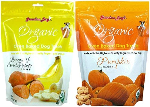 Grandma Lucy's Organic Oven Baked Dog Treats 2 Flavor Variety Bundle: (1) Pumpkin Recipe and (1) Banana and Sweet Potato Recipe (2 Bags Total, 14 Ounces Each)