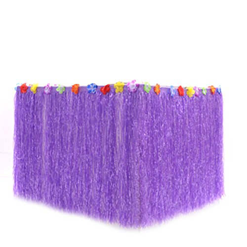 B&S FEEL Hawaiian Luau Grass Table Skirt Trimmed with Tropical Flowers for Tabletop Party Decoration Party Supplies (Purple) ()