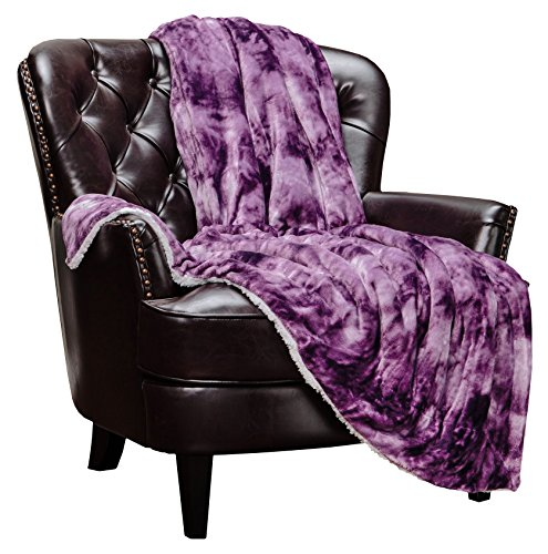 Chick Purple - Chanasya Cloud Print Reversible Velvet Fleece Throw Blanket - for Couch Bed Sofa Chair Day Nap - Super Soft Cozy Snuggly Comfort Chick Plush Light Weight Sherpa Blankets - 60