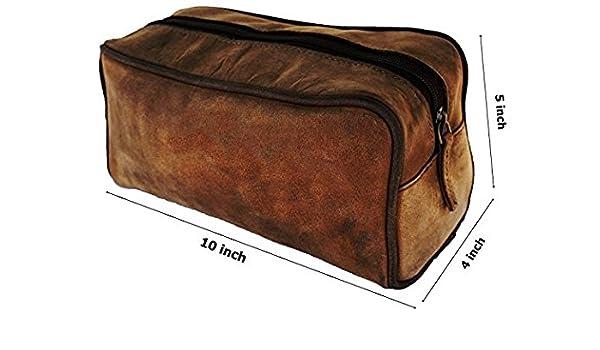 ad3dd0753f Amazon.com   Prastara Handmade Buffalo Genuine Leather Toiletry Bag Dopp  Kit Shaving And Grooming Kit For Travel - Gift For Men Women - Hanging  Zippered ...