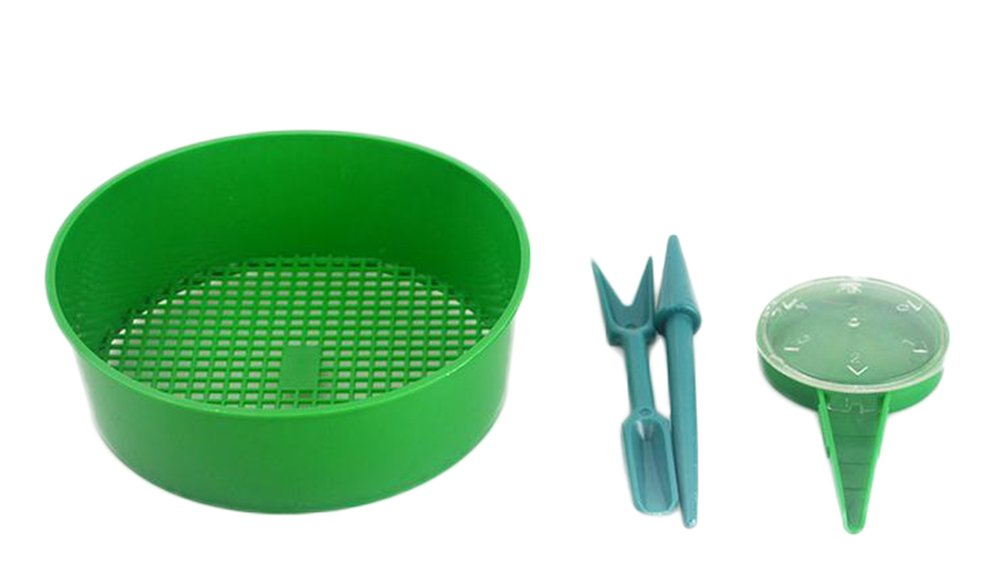 Outflower 4PCS Planting Tools Adjustable Dial Seed Sower,Soil Sieve, Transplanter and Widger(Green)