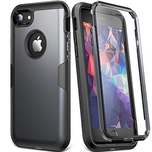 YOUMAKER Case for iPhone 8 & iPhone 7, Full Body Rugged with Built-in Screen Protector Heavy Duty Protection Slim Fit Shockproof Cover for Apple iPhone 8 (2017) 4.7 Inch - Black/Black