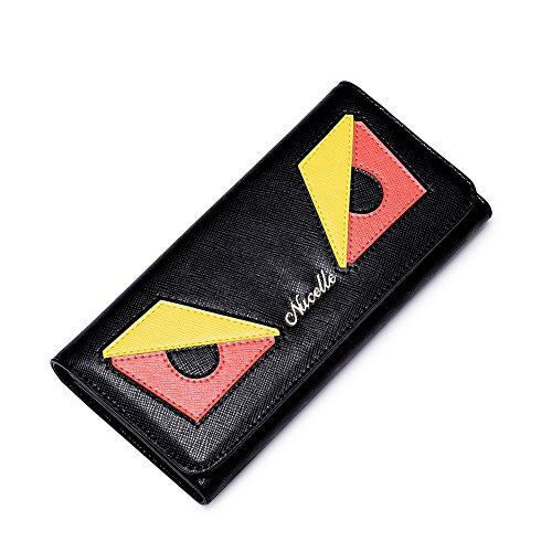 Nucelle Women's Genuine Leather Long Series Wallet Clutch Card Holder Gifts for Girls (Black) 070302-01