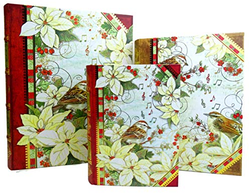 Punch Studio Christmas Poinsettia & Sparrow Bird Large Nesting Book Box Set, 3 Decorative Storage ()