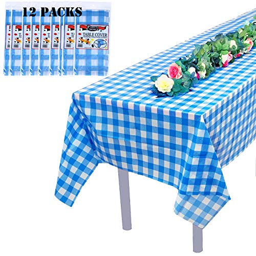 Blue and White Checkered Disposable Rectangle Plastic Tablecloth,Premium Blue Gingham Table Cover for Party and Picnic,54 x 108 In. ,12 Pack