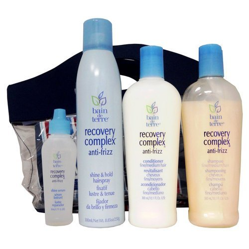 Bain De Terre Anti-Frizz Hair Products for Fine/Medium Hair in a Carry Along Pouch and Clear Tote - Soleil Ban