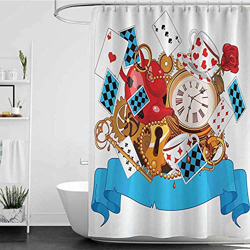homecoco Shower Curtains Pink and Gold Alice in Wonderland Decorations,Mad Design of Cards Clocks Tea Pots Keys Flowers Fantasy World Illustration,Multi W48 x L72,Shower Curtain for Shower stall]()
