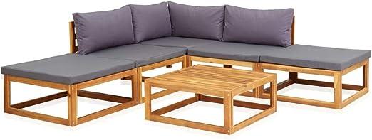 Festnight Juego Muebles de Jardín y Cojines 6 Piezas Madera Maciza Acacia, Conjunto de Muebles de Jardín para Patio o Sala de Estar, Interior: Amazon.es: Hogar