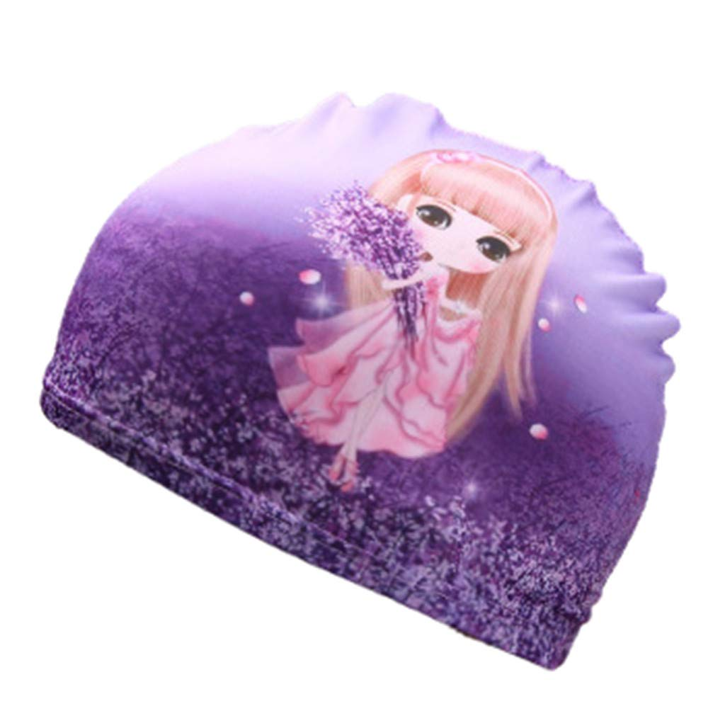 ❤️ Mealeaf ❤️ Children Kids Boy Girl Cartoon Print Swim Waterproof Swimming Cap Sports Hat(Purple,)