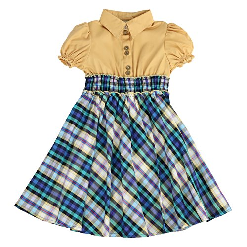 Anna Dress In Teal - MARIA ELENA - Toddlers and Girls Anna Belle Plaid Light Cotton Dress in Taupe & Teal 4T