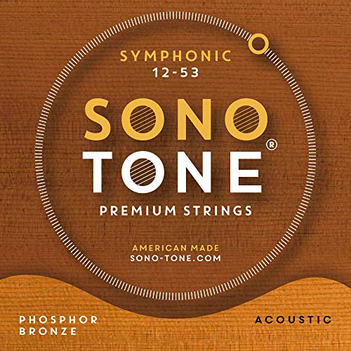 SonoTone Symphonic, 12-53, Light, Acoustic Guitar Strings, Ultra Phosphor Bronze Wrap, Hand-Wound, Precision Hex Core, Bright, Balanced, Sustain, American Made