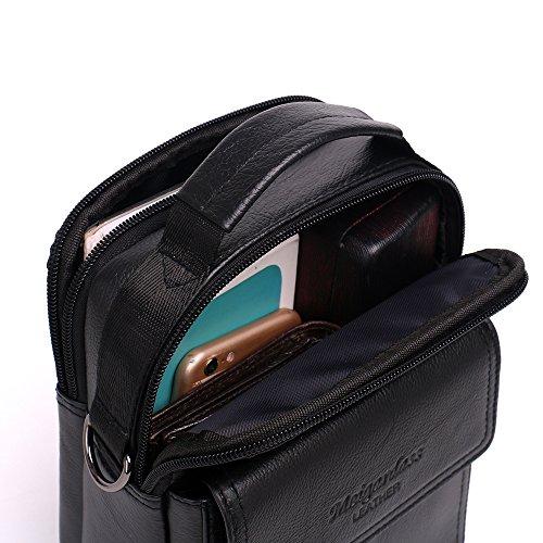 Meigardass Men's Genuine Leather Small Messenger Bag Shoulder Bag Briefcase Handbag (black) by Meigardass (Image #5)