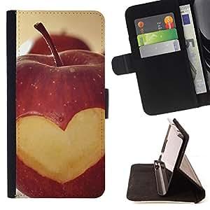 - Fruit Macro Apple Heart Lowe - - Monedero PU titular de la tarjeta de cr????dito de cuero cubierta de la caja de la bolsa FOR Samsung Galaxy A3 RetroCandy