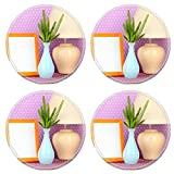 MSD Round Coasters Non-Slip Natural Rubber Desk Coasters design 20838974 Colorful photo lamp and flowers on wooden table on lilac polka dots