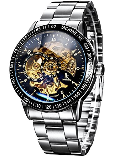 Carrie Hughes Men's Steampunk Automatic Watches Self-Winding Mechanical Skeleton Waterproof Stainless Steel Watch (CH69) (Skeleton Watch Winding Self Automatic)