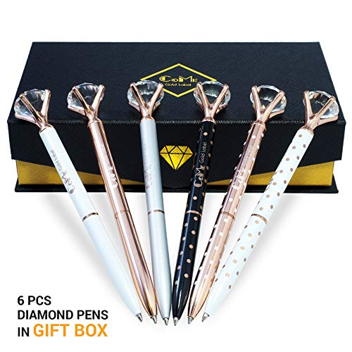 6 PCS Big Crystal Diamond Pens for Writing - Set in Gift Box - Rose Gold, Silver, White Out Metal Ballpoint Fun Novelty Pens with Blue/Black Ink - Cute School, Office Supplies for Women, Coworkers